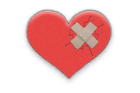 Figure broken heart on white a background photo