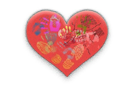 Figure broken heart on white a background photo
