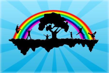 Island with a rainbow and people on it Stock Photo - 5758349