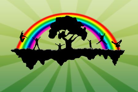 Island with a rainbow and people on it Stock Photo - 5758346