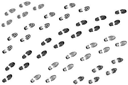 huellas de pies: Trazas va a ciertos algo sobre un fondo blanco  Foto de archivo