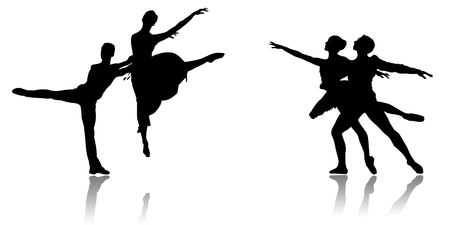 Black silhouette of dancing couples on a white background photo