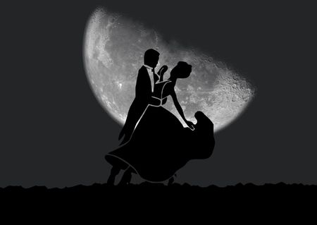 jive: Black silhouette of dancing couple on a night background