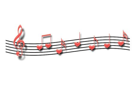 Musical notes in the form of heart on a white background Stock Photo - 5760015
