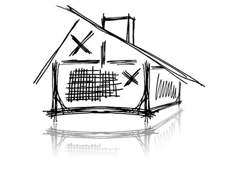 architecture logo: The image of the sketch of the house on a white background Stock Photo