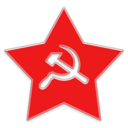 Red star with sickle and hammer silhouettes photo