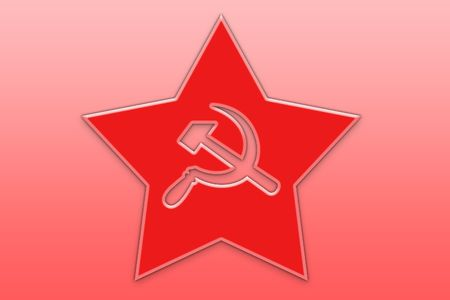 hammer and sickle: Red star with sickle and hammer silhouettes Stock Photo