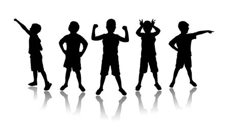 silhouettes of children: The image of small children on a white background Stock Photo