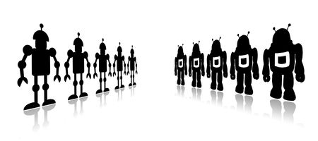searcher: Silhouettes team black robots on a white background Stock Photo