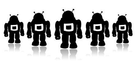 Silhouettes team black robots on a white background Stock Photo - 5760943