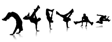 dance hip hop: Chicos de siluetas bailando un descanso en fondo blanco