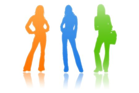 uniting: Team of beautiful woman on a white background Stock Photo