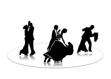 Black silhouette of dancing couples on a white background