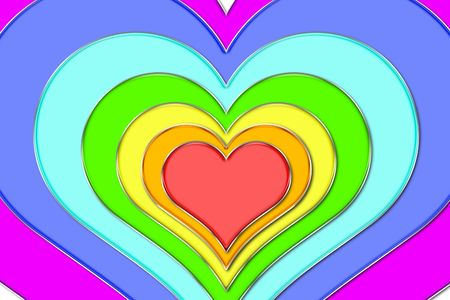 The image of hearts in colour rainbows Stock Photo - 5761021
