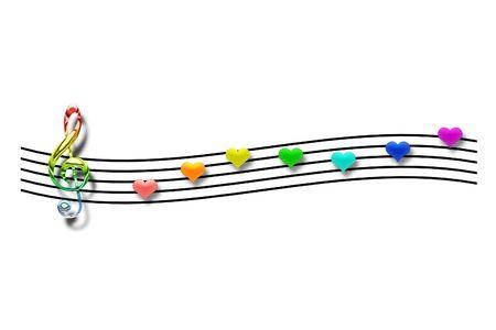 Las notas musicales en forma de coraz�n sobre un fondo blanco Foto de archivo - 5760993
