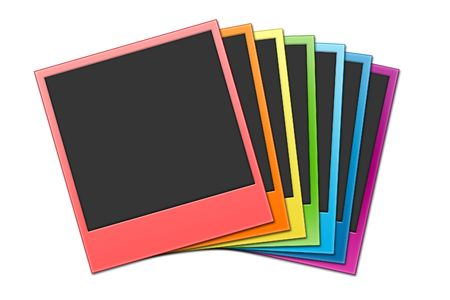 Many shots on a white background in rainbow colour photo
