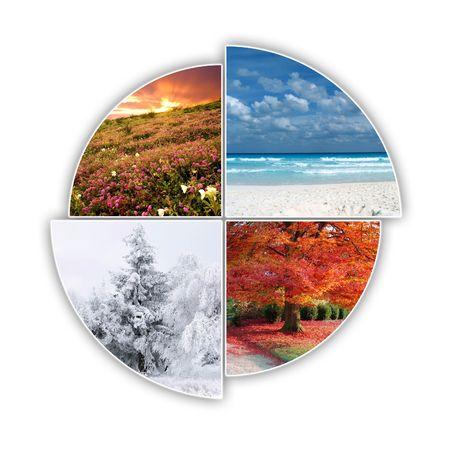 seasons: Vier seizoenen van het jaar op een foto  Stockfoto