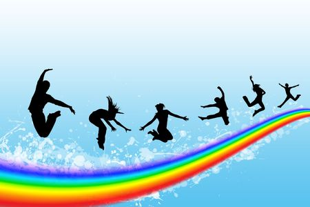 Silhouettes of the people jumping on a rainbow in the sky Stock Photo - 5761002