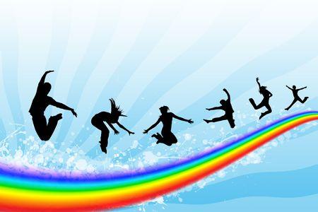 Siluetas de la gente saltando sobre un arco iris en el cielo