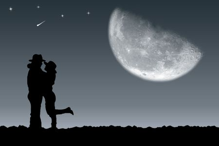 Meeting of the guy and the girl under the moon photo