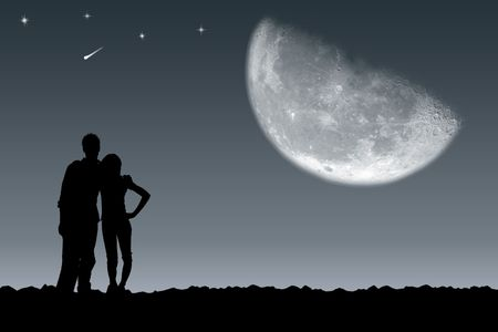 moon night: Meeting of the guy and the girl under the moon