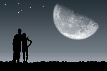 despedida: Reuni�n del chico y la chica bajo la Luna  Foto de archivo