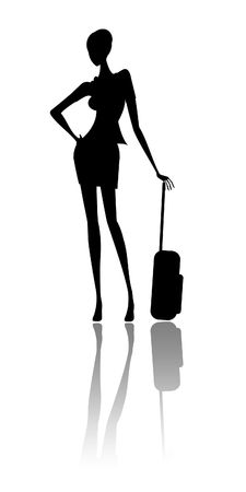 The girl expects the plane at the airport Stock Photo