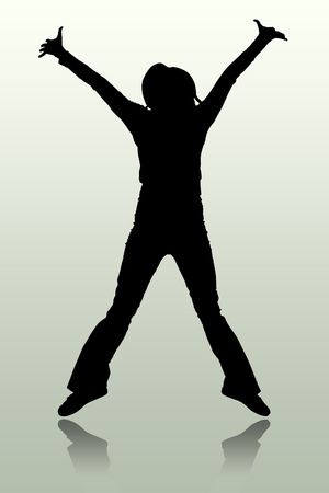The illustration of a silhouette of the person which jumps illustration
