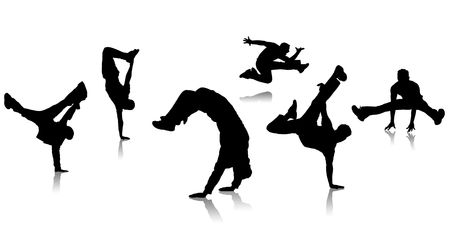 handstand: Silhouettes guys dancing a break on white background