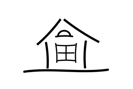 The image of the sketch of the house on a white background Фото со стока