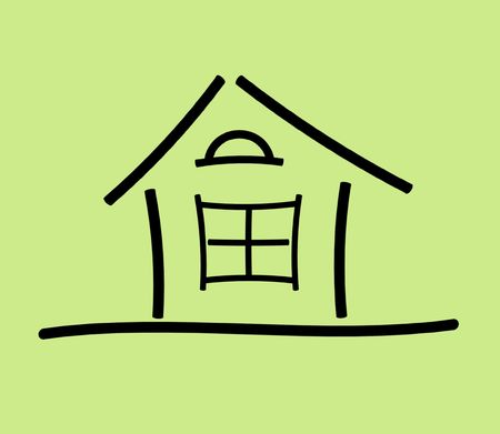 The image of the sketch of the house on a green background Stock Photo - 5761031