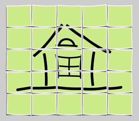 The image of the sketch of the house on a green background Stock Photo - 5761123