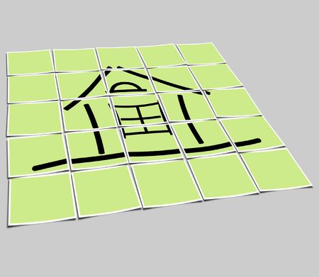 The image of the sketch of the house on a green background Stock Photo - 5761109