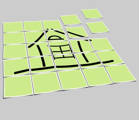 The image of the sketch of the house on a green background photo
