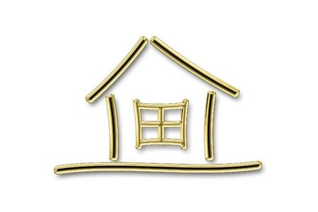 gold house: The image of the sketch of the house on a white background Stock Photo