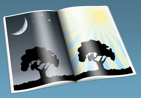 evening newspaper: Illustration of day and night on the nature