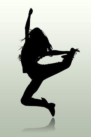 bailarines silueta: La ilustraci�n de la silueta de la persona que salta