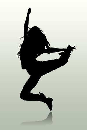 hip hop dance: The illustration of a silhouette of the person which jumps