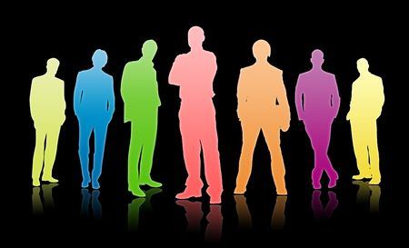 uniting: Team of business people on a black background