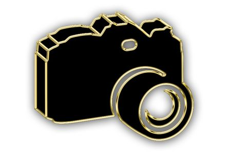 photography logo: Digital photocamera in gold on a white background
