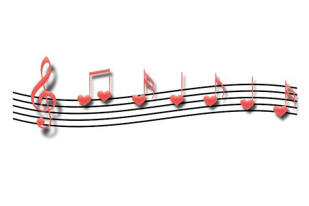 Musical notes in the form of heart on a white background photo