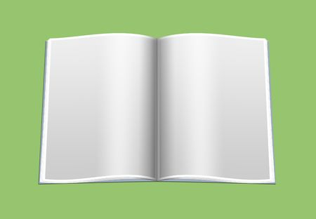 composition book: The opened book with blank pages, as a template