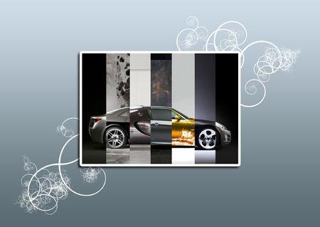 piezas coche: Un coche recogidos desde muchas partes  Foto de archivo