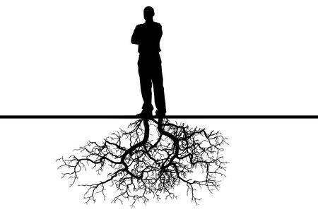 The person with roots from feet on a white background