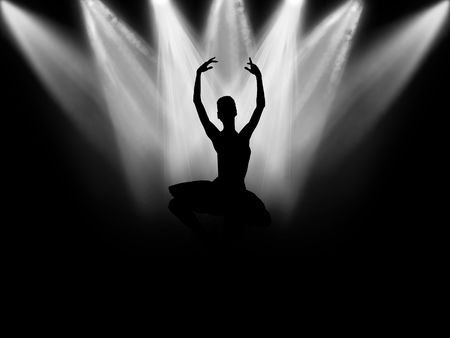 classical dancer: The ballerina who dances on a black background under light of projectors