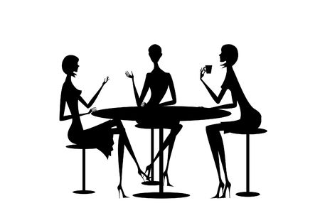 little table: Girls of the girlfriend sit together at one little table