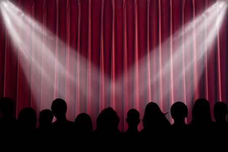 spectators: The scene shined with projectors, before curtain opening Stock Photo