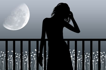 man in the moon: Woman costs near a balcony and looks at the moon Stock Photo