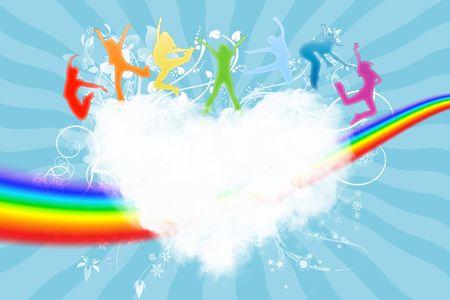 silueta niño: Siluetas de la gente saltando sobre un corazón en el cielo  Foto de archivo