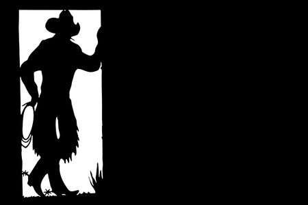 Illustration of a silhouette of the cowboy which costs in doors illustration